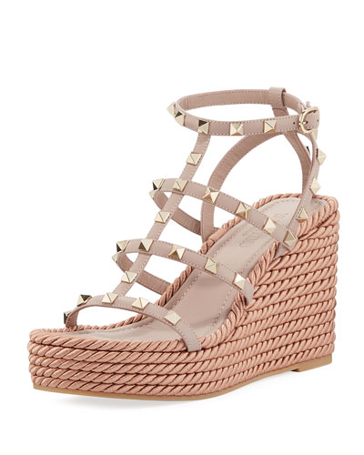 Rockstud Caged Wedge Sandals