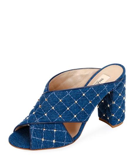 Valentino Garavani Quilted Cross-Stitched Slide Sandals