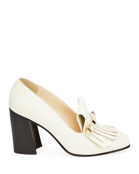 Kiltie Leather Loafer Pumps
