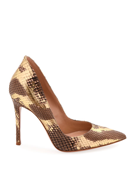 Pointed-Toe Metallic Python High-Back Pumps