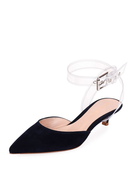 Gianvito Rossi Low-Heel Plexi Buckle Slingback Pumps