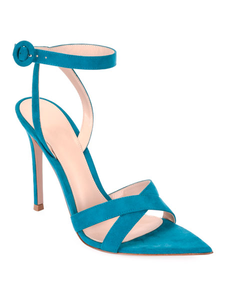 High-Heel Suede Crisscross Ankle-Strap Sandals