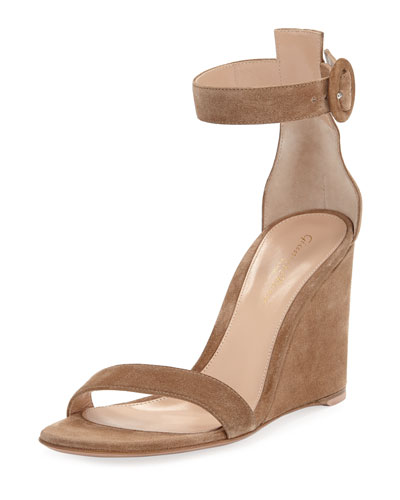 Suede High-Wedge Sandals