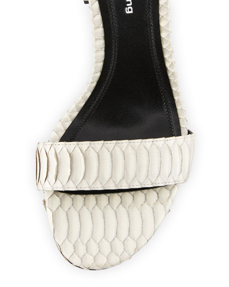 Abby Block-Heel Watersnake Sandals