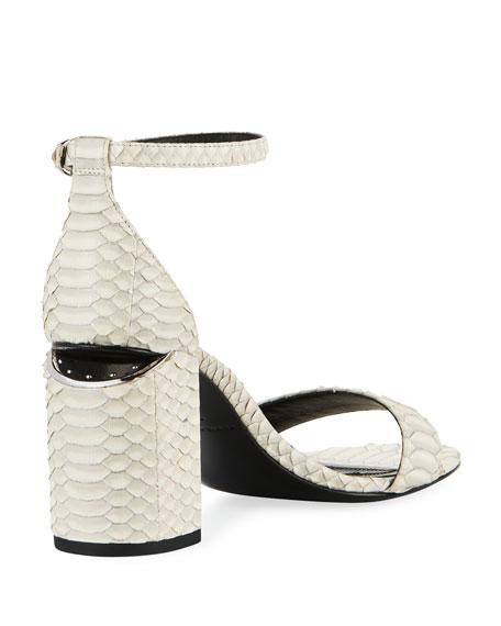 931cb4f31ee Alexander Wang Abby Block-Heel Watersnake Sandals