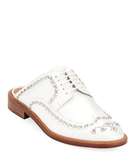 8f207780728 Clergerie Paris Amber Studded Wing-Tip Mules