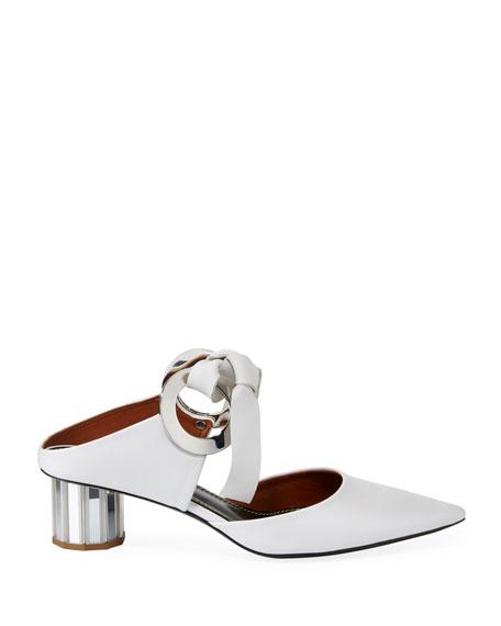 Pillar Rings T-Bar Mules with Mirror Heel