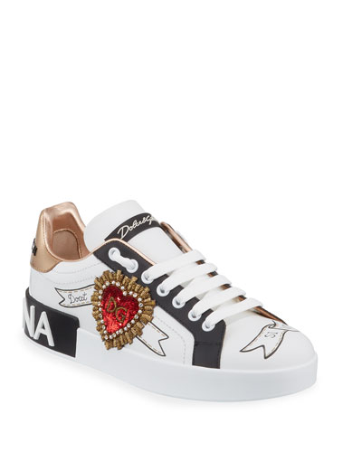 Portofino Low-Top Sneakers with Sequined Heart