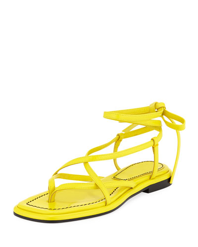 Flat Leather Lace-Up Sandals