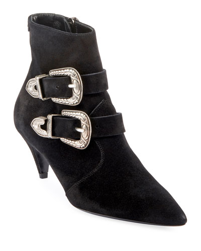 Charlotte Suede Buckle Booties