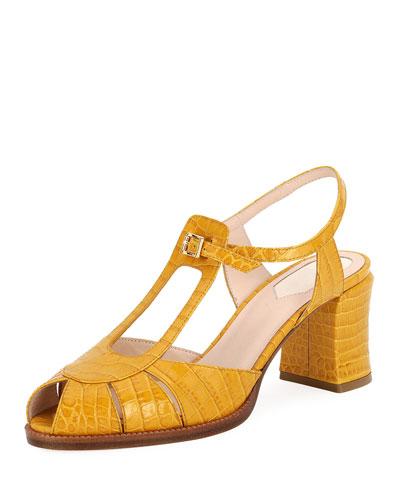 Chameleon Croco Block-Heel Sandals