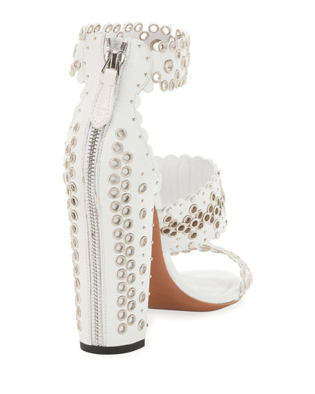 Chunky Grommet-Trim Sandals