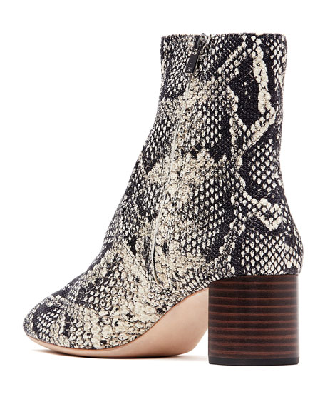 Gema Snake-Print Leather Block-Heel Booties