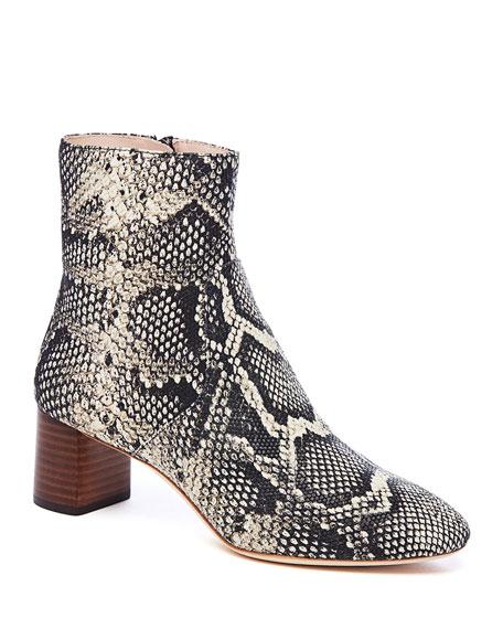 Loeffler Randall Gema Snake-Print Leather Block-Heel Booties