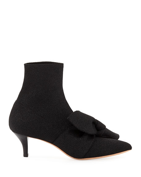 Kassidy Stretch Kitten-Heel Booties with Bow