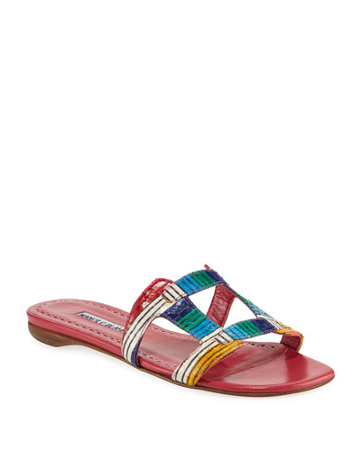 Grella Multicolor Snakeskin Slide Sandals