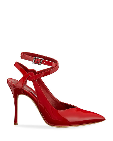 Lero Patent Leather Crisscross Ankle-Strap Pumps