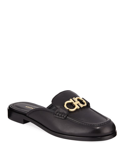 Viggio Flat Leather Mule Loafers with Reversible Gancini Bit