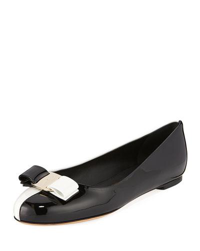 Varina Colorblock Patent Leather Bow Ballet Flats