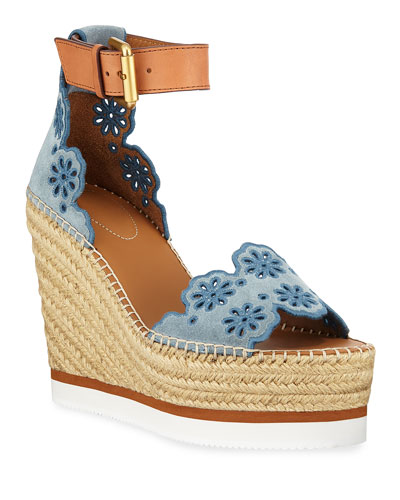 Eyelit Wedge Espadrille Sandals