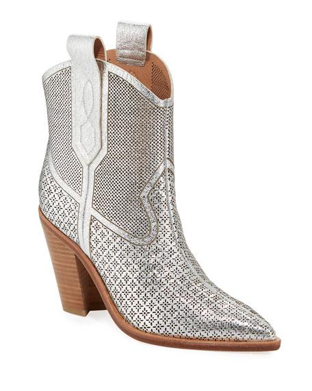 Women'S Karka Pointed-Toe High-Heel Western Booties in Silver