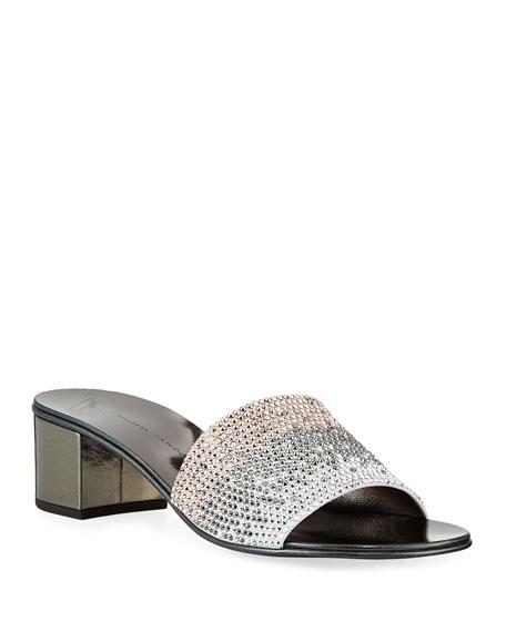 Ombré Crystal Slide Sandals
