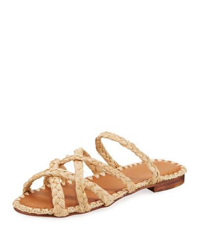 Noura Braided Raffia Slide Sandals