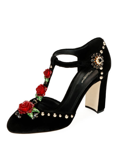 Velvet Embellished Pumps