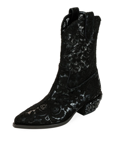Floral-Lace Western Boots