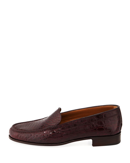 Venetian Crocodile Flat Loafers