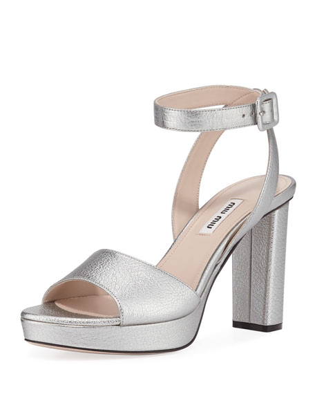 64d9ac25906 Miu Miu Metallic Block Heel Platform Sandals In Gray