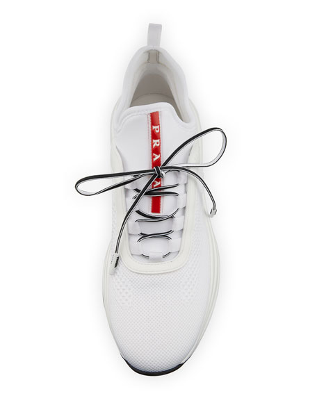 Knit Lace-Up Trainer Sneakers