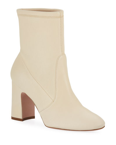 Niki Block-Heel Leather Booties