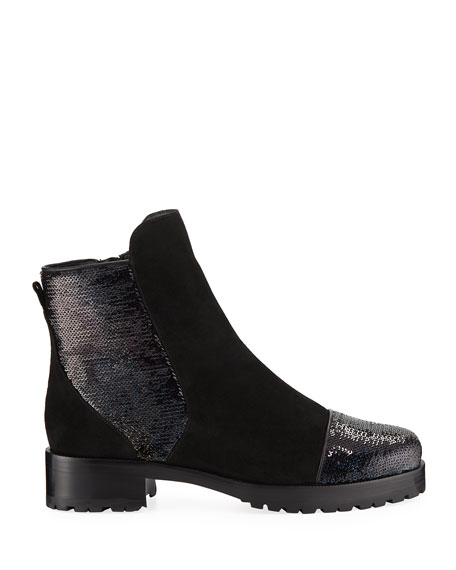 Sequined Suede Shearling-Lined Booties