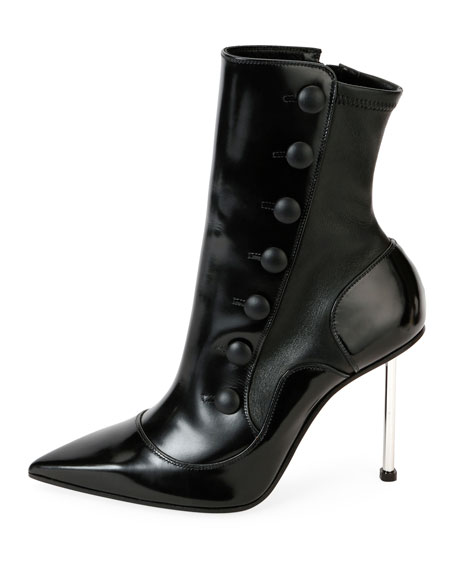 Pointed Button Tall Booties