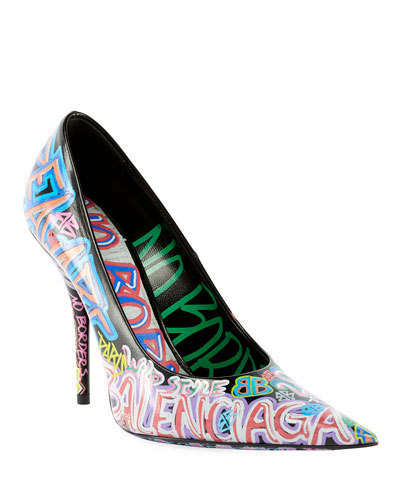 Graffiti Knife Pointed Pumps