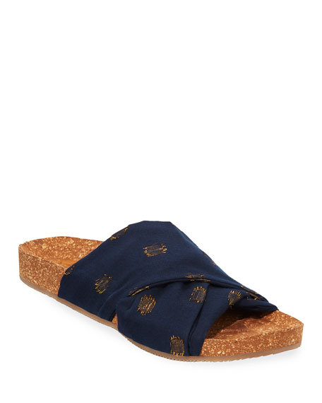 Figue Suki Metallic-Dot Cotton Cork Flat Sandals