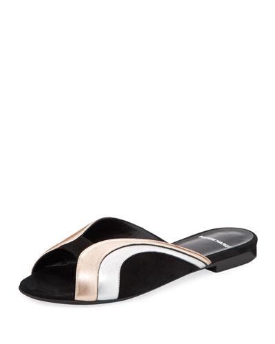 Rainbow Metallic Leather Slide Sandals