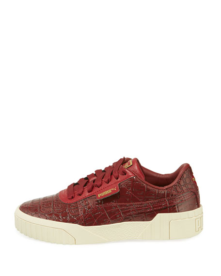 Cali Holiday Croc-Embossed Patent Sneakers