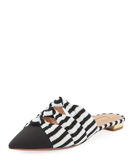 Aquazzura Mondaine Flat Nautical-Stripe Grosgrain Mules