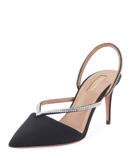 Aquazzura Eden Crystal 75 Slingback Pumps