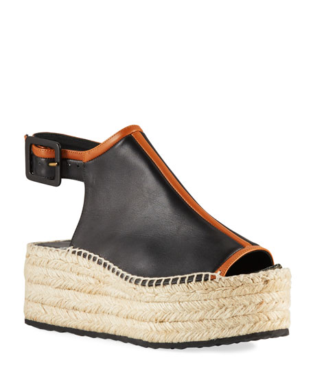 Alpha Two-Tone Leather Espadrilles