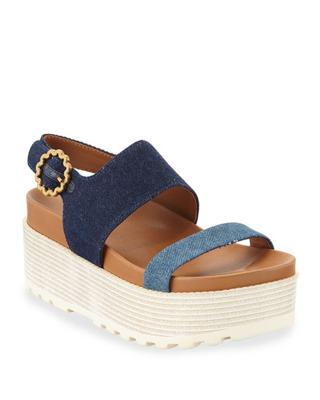 c1ceb8e9858 See by Chloe Jenna Denim Flatform Sandals