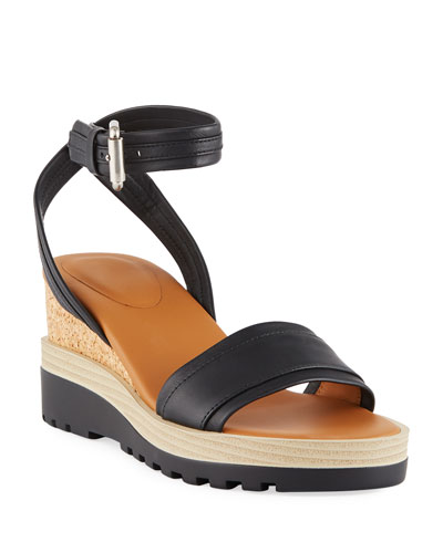 Robin Sporty Leather Wedge Sandals