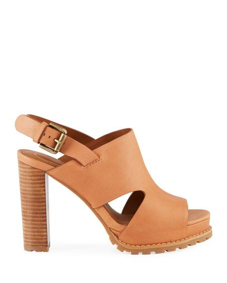 Brooke Slingback Platform Leather Sandals