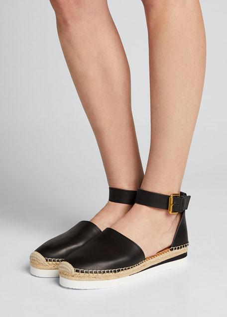 Glyn Flatform Leather Espadrilles
