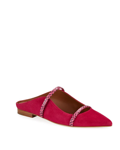 Maureen Flat Mules in Suede  Pink