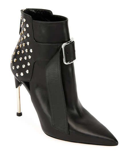 Studded Smooth Leather Booties