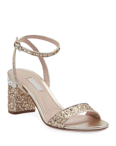 1759198a8c61 Glitter Crystal-Embellished Block-Heel Sandals Quick Look. Miu Miu