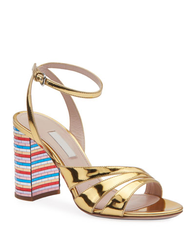 Metallic Strappy Sandals with Rainbow Heel
